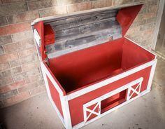 Barn Wood Toy Box by DrakestoneDesigns on Etsy https://www.etsy.com/listing/124399535/barn-wood-toy-box