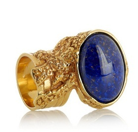 Yves Saint Laurent  Arty gold-plated glass ring 'Blue'
