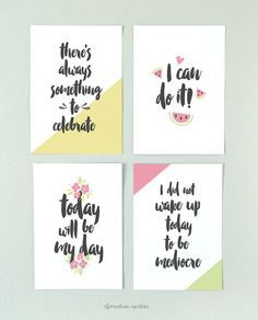 Free Morning Motivational Printables -  Clementine Creative   DIY Printable Stationery