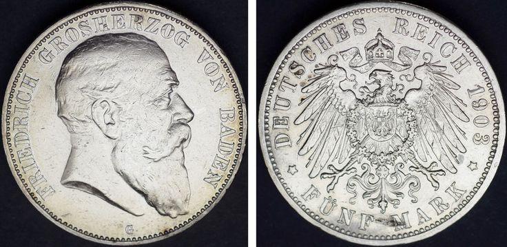 5 SILVER MARKS FREDERICK I / 5 MARCOS PLATA FEDERICO I. BADEN. 1903 G. VF+/MBC+.