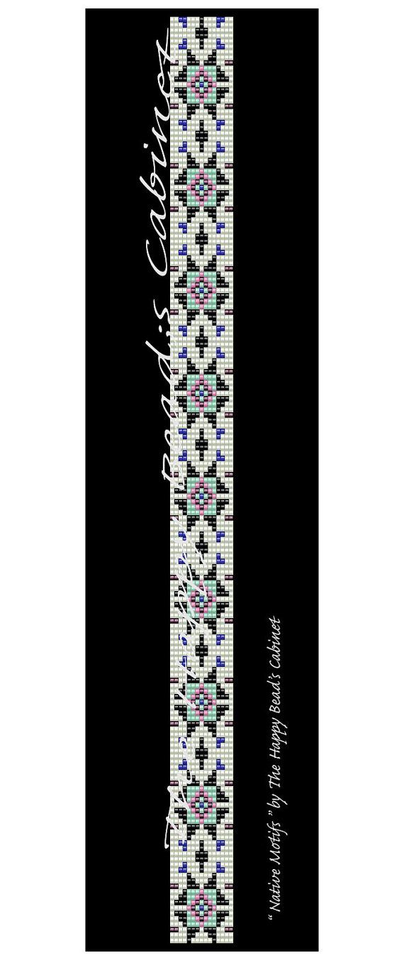 "Beaded hat band, head band, loom, peyote pattern "" Native Motifs "" INSTANT PDF , Digital download , bracelet, home decor, bag, handbag"