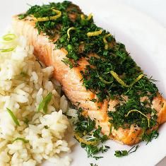Fresh-herb Salmon With Jasmine Rice (via www.foodily.com/r/KtbIUmYb5w-fresh-herb-salmon-with-jasmine-rice-by-real-simple)