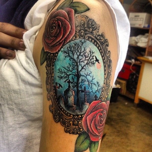 just beautiful / color tattoo / graveyard / roses / framed @cyncityink |