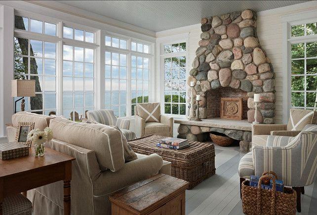 #Coastal #Sunroom......floors and rock fireplace