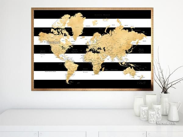 326 best blursbyais new art prints canvas prints push pin world map print in gold foil effect with countries states capitals and cities labelled and black and white striped background gumiabroncs Choice Image