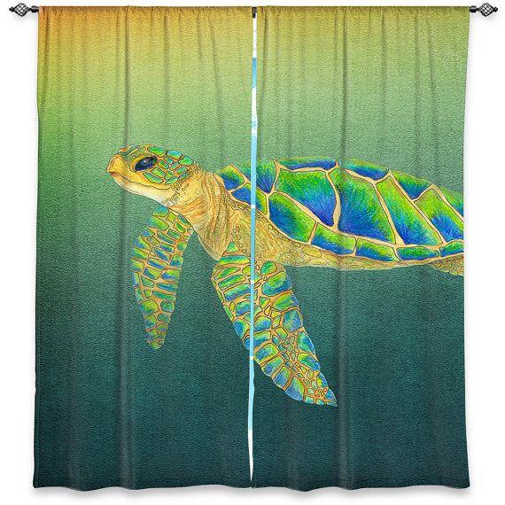 "Sea Turtle Curtains - ""Sydney"" Undersea window curtains, ocean, coastal decor…"