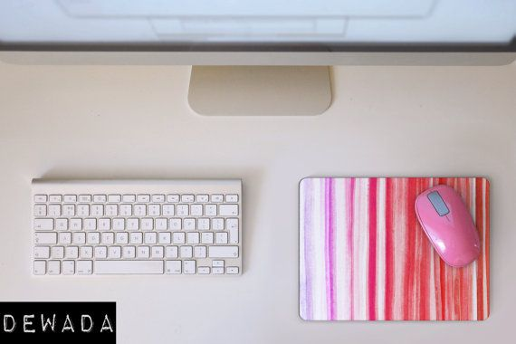 MOUSE PAD watercolor stripes Mousepad pink by DeWadaSTORE