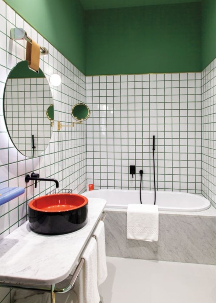 Image result for interior design magazine green grout bathroom