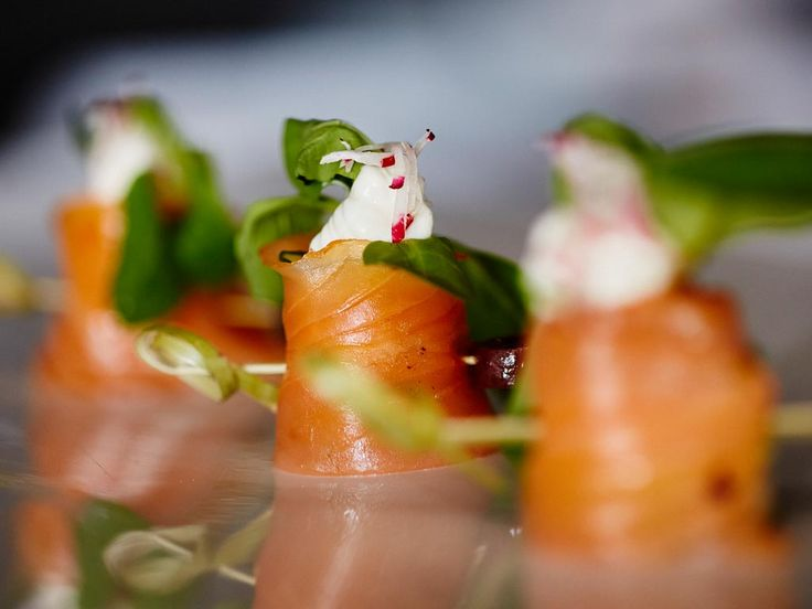 Smoked Scottish #salmon rolls (filled) with avocado mousse, by #ARIAFineCatering
