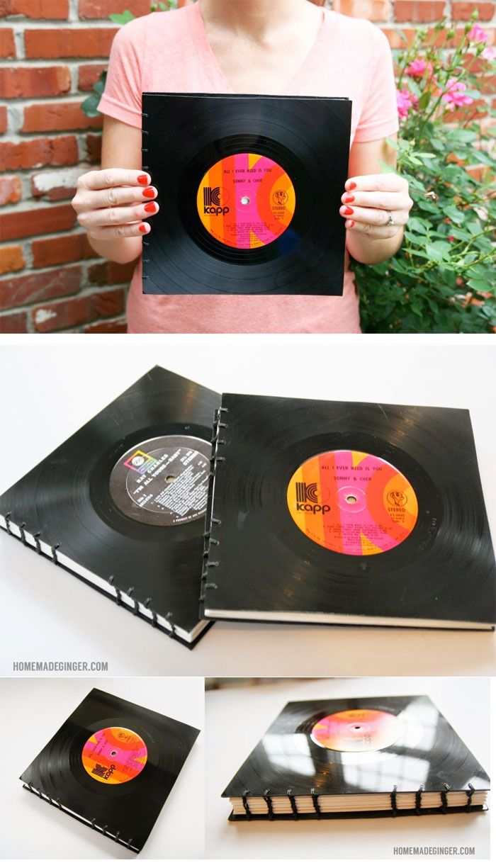 //HANDMADE VINYL RECORD BOOK// Use vinyl records to make a handmade book. This would make the perfect guest book for any music lover's wedding!