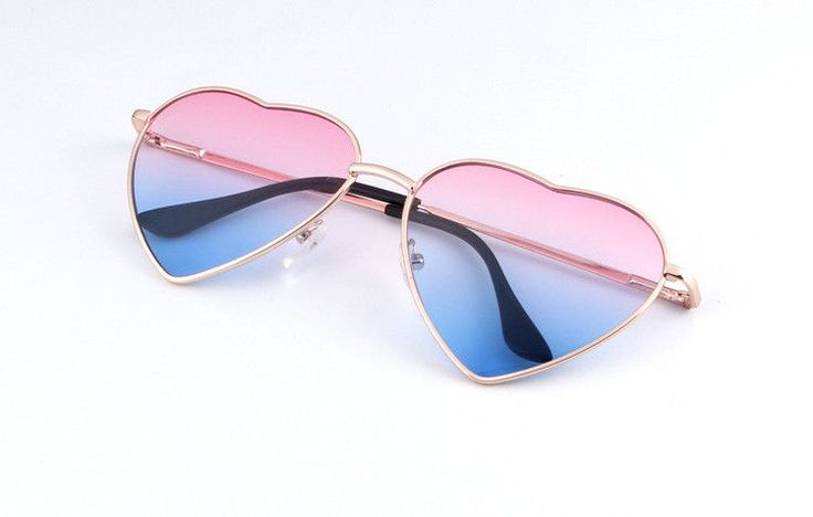 Gold Rimmed Heart Shaped Sunglasses in Your Choice of Pinks or Blues