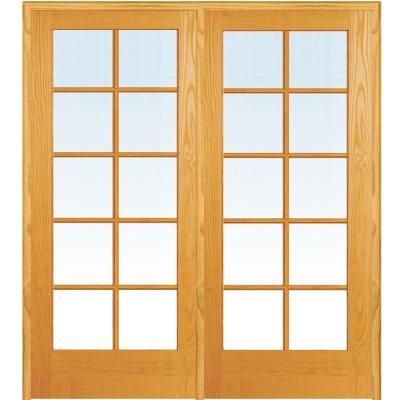 MMI Door 50 In. X 81.75 In. Classic Clear Glass 10 Lite True Divided  Unfinished Pine Wood Interior French Double Door