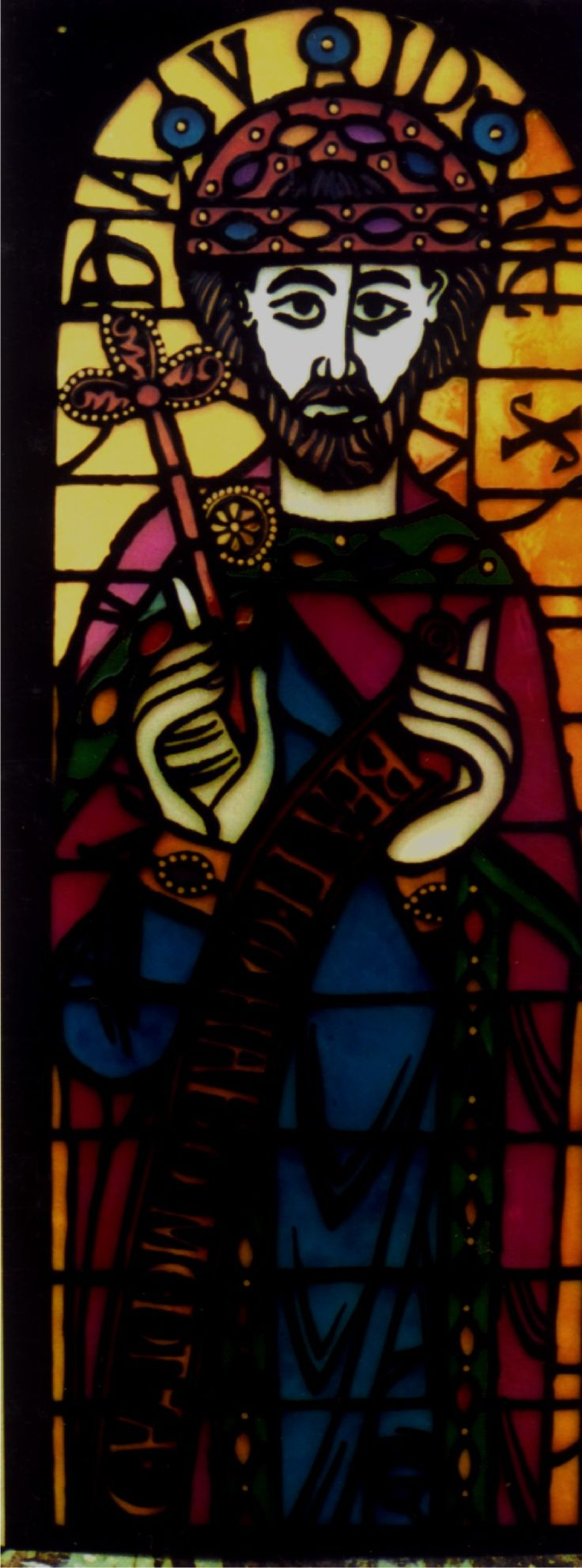 Painted glass (King  David) Origin graphic from Dover