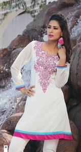 Show details for White and Hot Pink Kurti