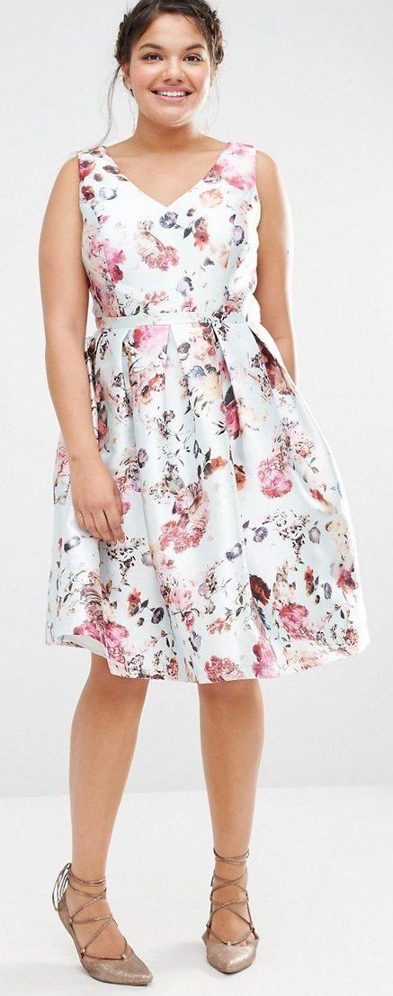 Plus Size Plunge Front Skater Dress