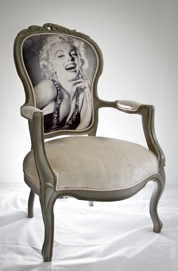 A vintage armchair got back to life by repainting and upholstering with a high quality Turkish silk velvet fabric of which an unforgettable Marilyn Monroe picture is printed on it. http://www.etsy.com/listing/70038496/marilyn-monroe-vintage-armchair