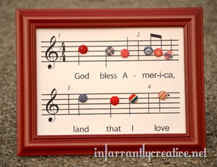 """Patriotic Craft ~ Print and frame the """"God Bless America"""" printable and add patriotic themed buttons"""