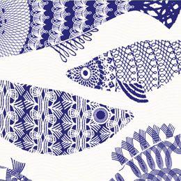 Blue Fish from the brand new Alabasta collection designed by British textile designer Asta Barrington.