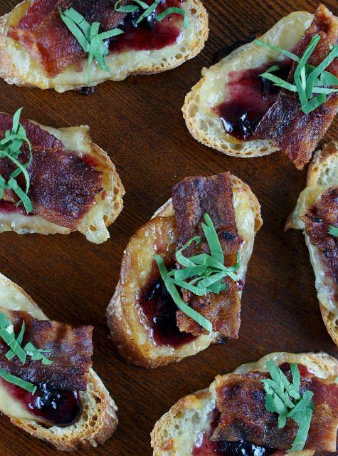 Bacon, Smoked Mozzarella, and Blueberry Jam Crostini