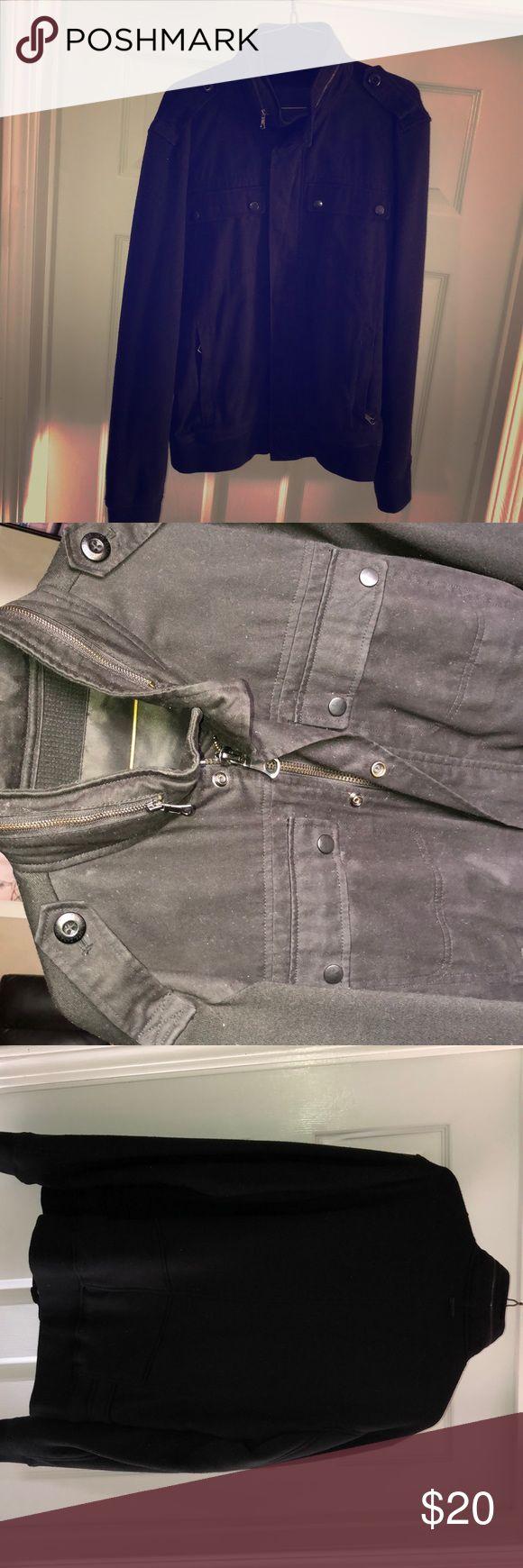 ZARA MAN BOMBER JACKET BLACK ZARA MAN JACKET  RETRACTABLE HOOD IN COLLAR  SIZE MENS LG Jackets & Coats Utility Jackets