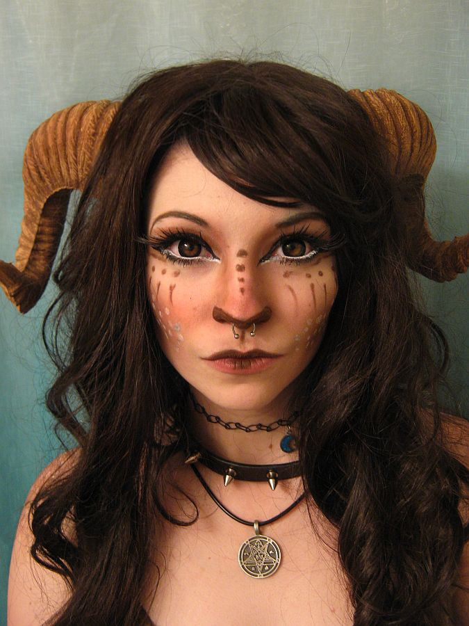 These horns are too big for me but I live the makeup on the nose to make her look more faun-like