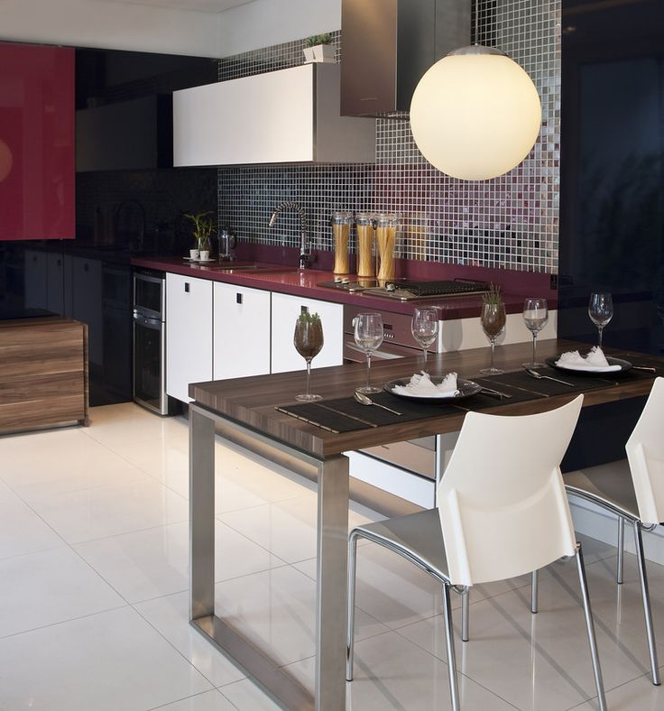 Koan Silestone With A Glass Tile Wall. Kitchen Counters ...