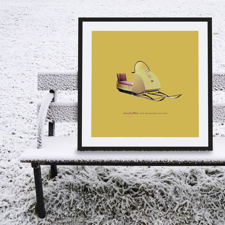 Retro Bombardier Ski-doo poster: another great Canadian invention! Makes a great gift for men, or decoration for a condo, apartment or man-cave!