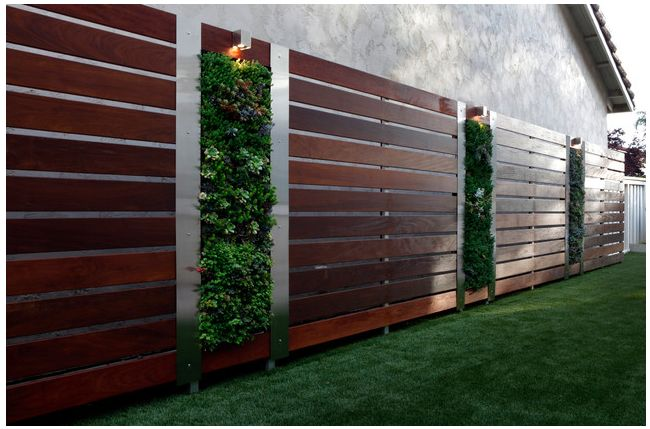 Vertical gardens and wooden privacy screens instantly make