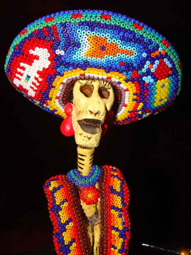 Huichol beaded Day of the Dead Doll from Puerto Vallarta