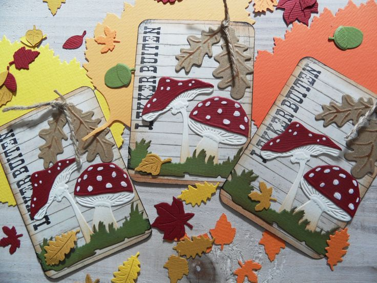 ATC cards made by Marianne with Creatables Mushrooms (LR0372), Acorns with Leaves (LR0373), Tiny's Grass (LR0360) and sprinkled around are Craftables Punch die - Autumn Leaves (CR1336) by Marianne Design