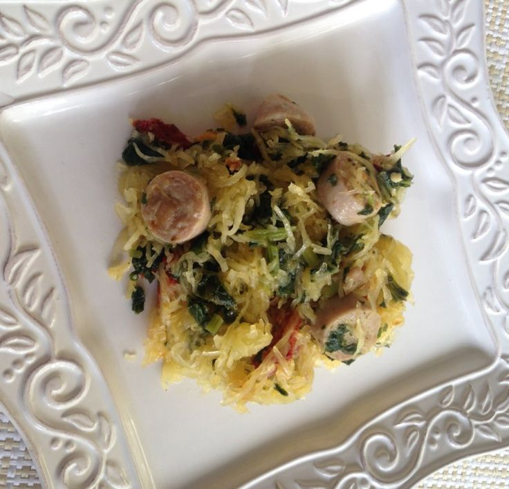 Spaghetti Squash with Kale, Sausage, and Sun Dried Tomatoes (Mod Med ...