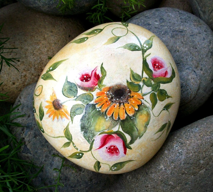 Summer roses - sunflowers - pink - green - golded yellow - original handpainted rock OOAK. $23.00, via Etsy. by HOLIDAYHIJINKS