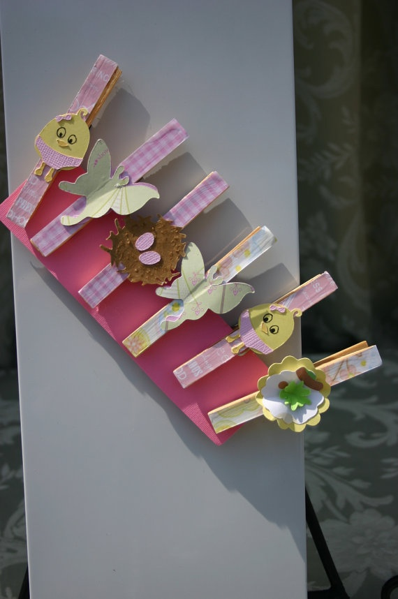 Baby Shower Girl Chick Clothepins Favors by FabbCreations on Etsy, $4.99