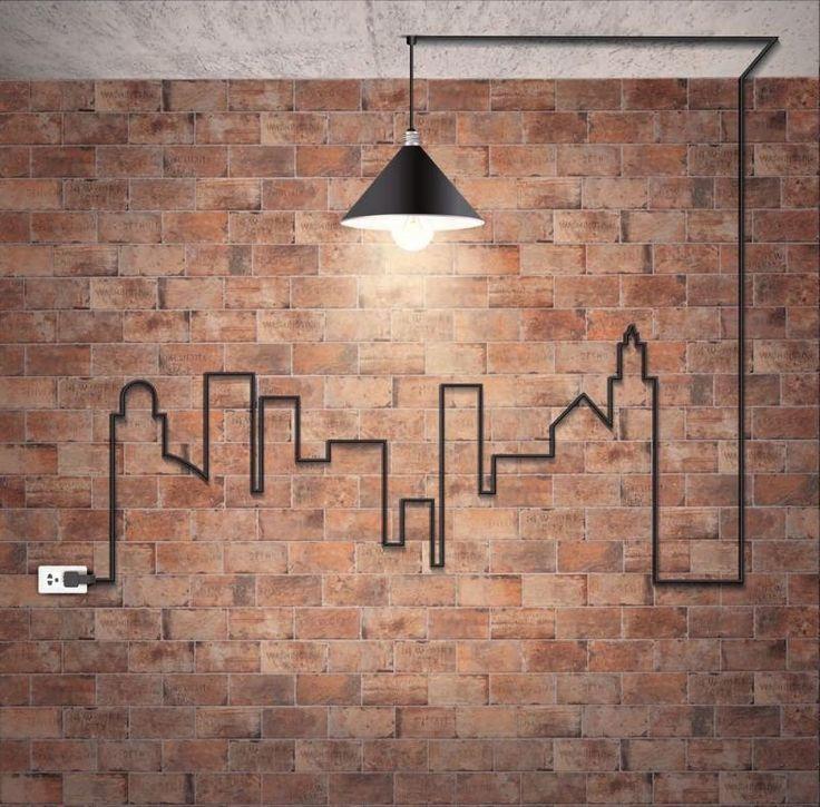 backstein-tapete-wandgestaltung-industrial-design-industrielampe-kabel-stadt-silhouette-steckdose
