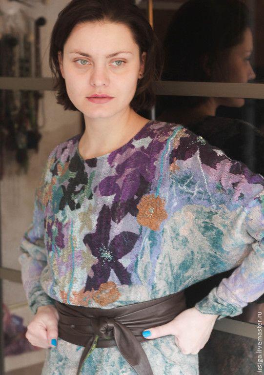 """Купить Валяная блуза """"Фиалка"""" - разноцветный, цветочный, бирюзовая кофта, кофта бирюзовая, бирюзовый джемпер"""