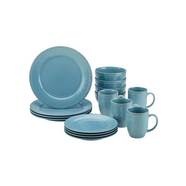 Rachael Ray Cucina 16 Piece Dinnerware Set, Blue ($70) ❤ liked on Polyvore featuring home, kitchen & dining, dinnerware, rachael ray, rachael ray dinnerware and rachael ray dinnerware set