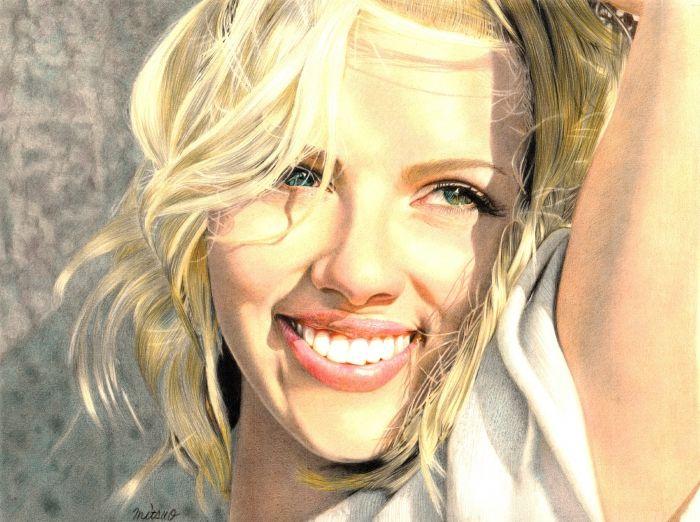 Обои на рабочий стол Разное:Зеленые глаза, Улыбка, Актриса, Живопись, Блондинка - скачать бесплатно. | Обои-на-стол.com