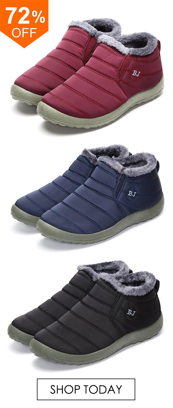 2a82774bdbe BJ Shoes Warm Wool Lining Flat Ankle Snow Boots For Women.  boots  flats