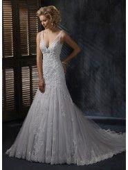 Lace V-neck Neckline A-line Wedding Dress