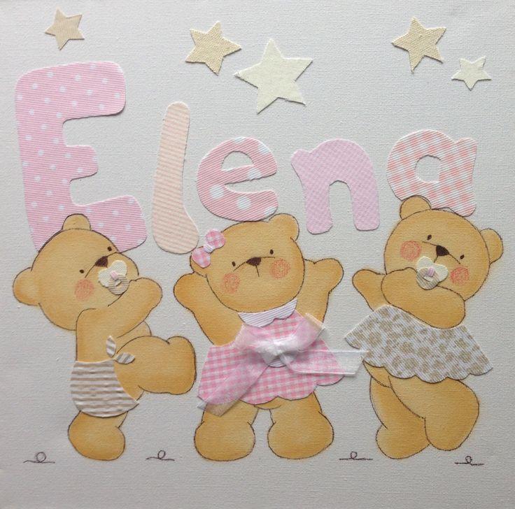 Cuadro con tres osos para Elena en rosas www.mamimania.es