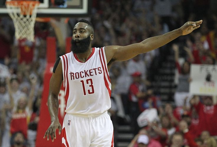 NBA Playoffs Rd 2/Game 2: Houston Rockets Skirt LA Clippers 115-109 May 4, 2015; Houston, TX, USA; Houston Rockets guard James Harden (13) celebrates his three point shot against the Los Angeles Clippers in the first quarter in game one of the second round of the NBA Playoffs at Toyota Center. Mandatory Credit: Thomas B. Shea-USA TODAY Sports