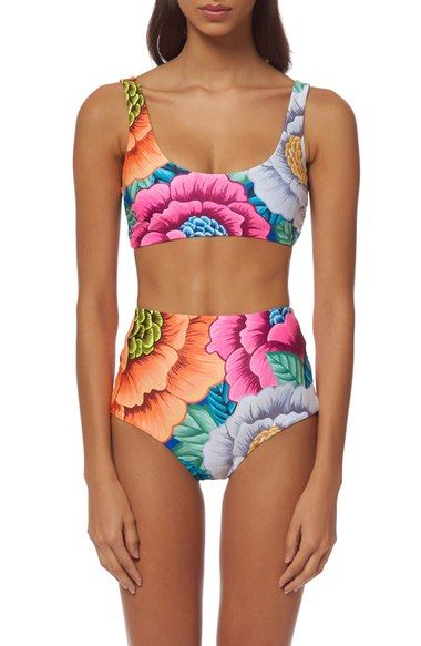 Mara Hoffman 'Flora' High Waist Bikini Bottoms available at #Nordstrom