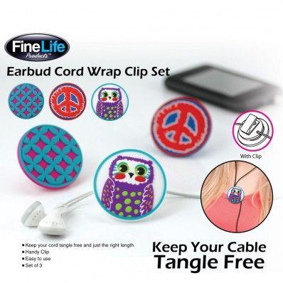 Earbud Cord Wrap Clip Trio