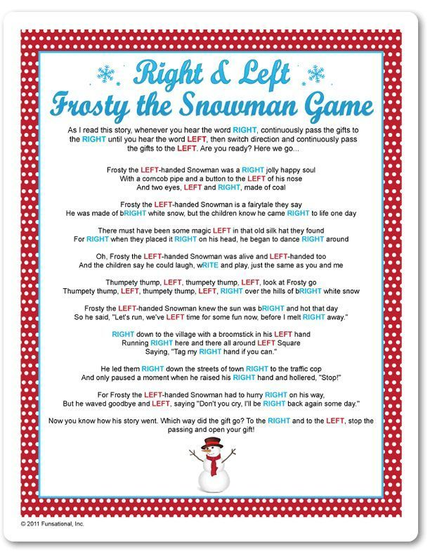 Christmas Party Games Includes Trivia Questions Printable Right Left Frosty The Snowman Game