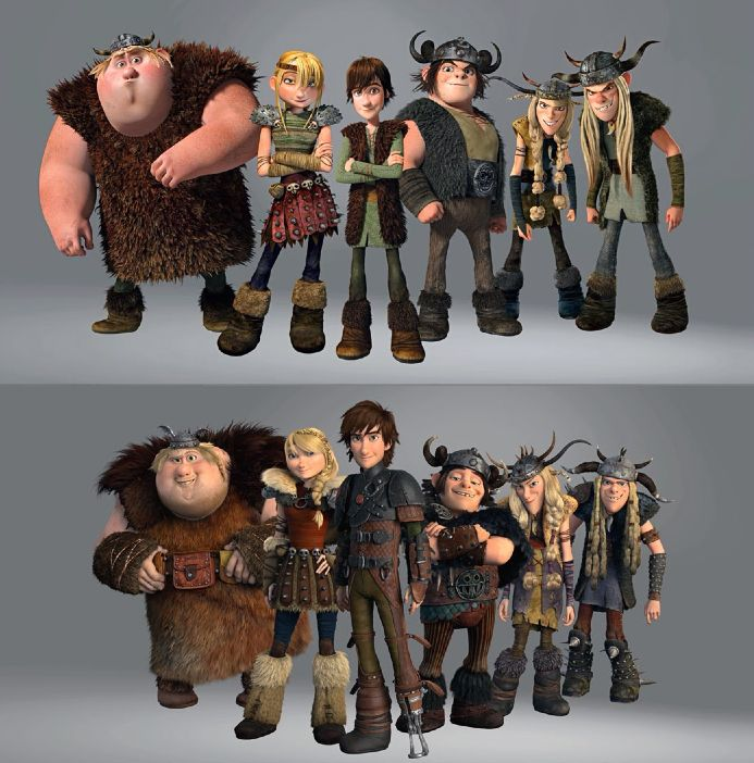 """""""How To Train Your Dragon"""" Then and Now. I love how Hiccup is so much taller than Snotlout now!"""