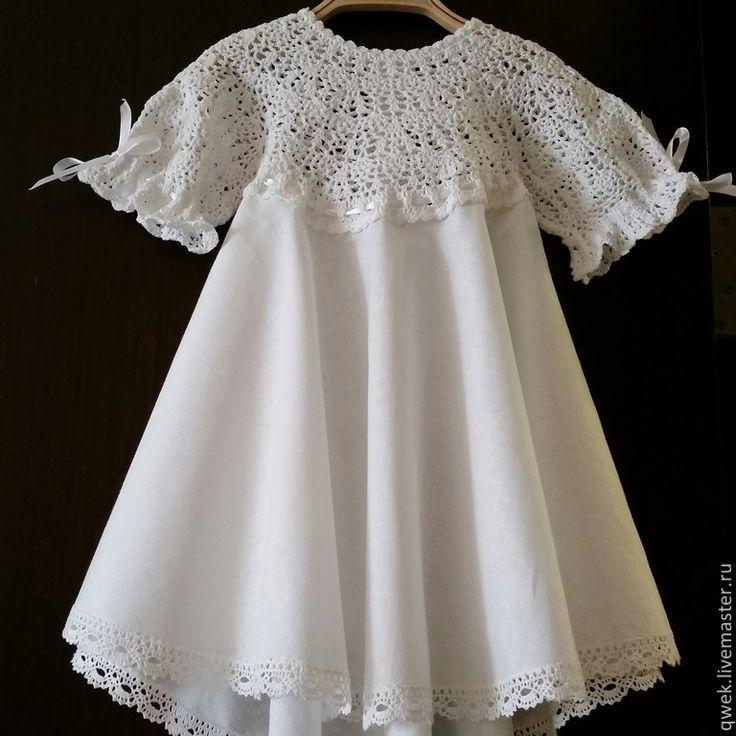 Купить Крестильное платье Акулина с рукавом - белый, однотонный, Крестины, крестильное платье, крестильное