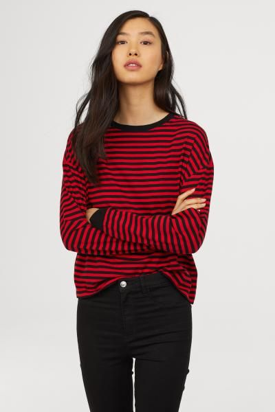ab4a0d97bd9 Striped jersey top - Red Black striped - Ladies