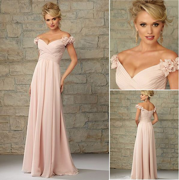 Blush Pink Bridesmaid Dress Long Chiffon Junior Nds118 From Newdress In 2018