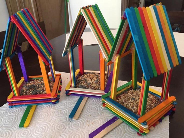 Rainbow Popsicle Stick Birdhouses | Popsicle Stick Crafts
