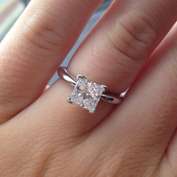 Classic diamond solitaire Princess Cut Engagement Ring.| repinned by bridesandrings.com